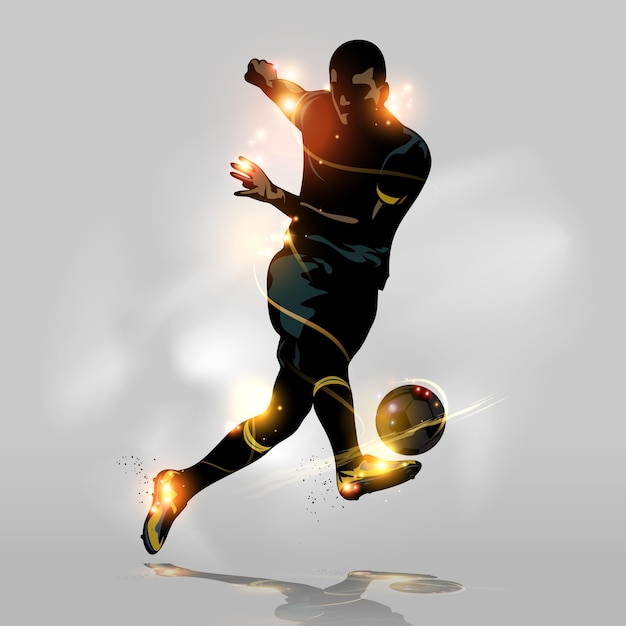 Abstract soccer quick shooting Premium Vector