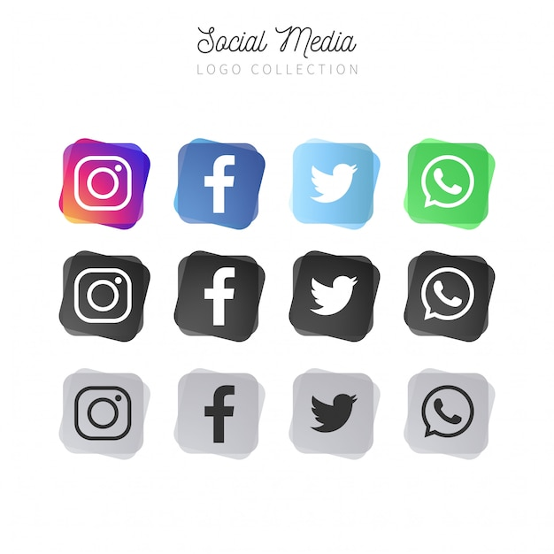 Abstract social media collection Free Vector