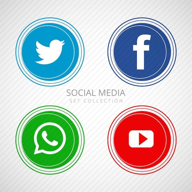Abstract social media icons set illustration Free Vector