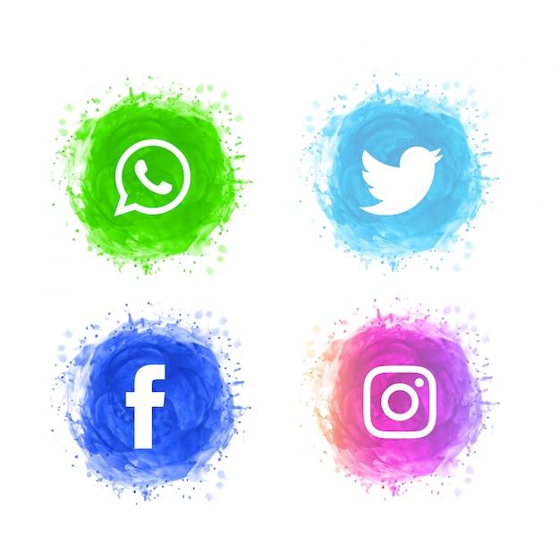 Abstract social media icons set Free Vector