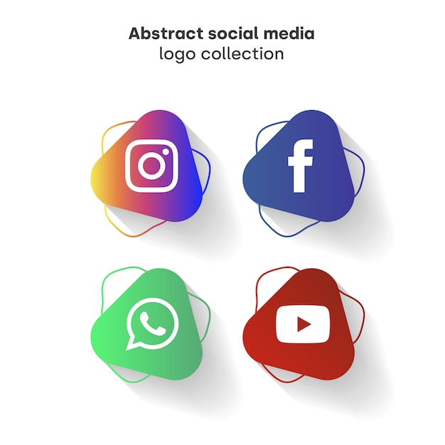 Abstract social media logo collection Free Vector