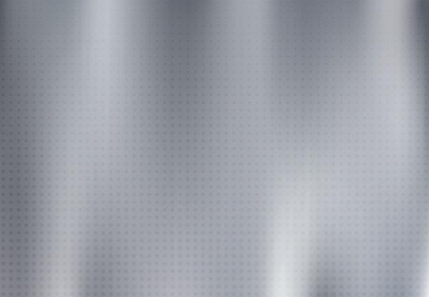 ハーフトーンの装飾的な背景を持つグランジラインと抽象的な固体銀チタン板素材。 Premiumベクター