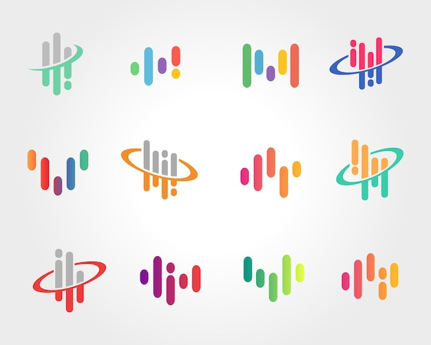 Abstract sound wave symbol design Premium Vector