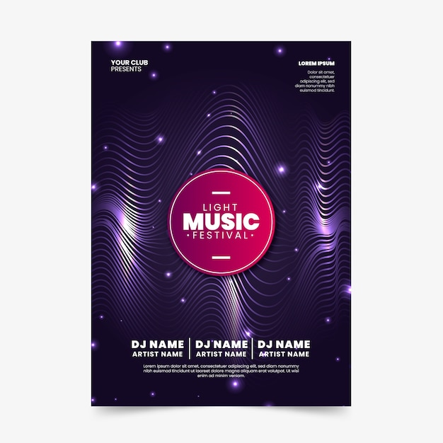 Abstract soundwaves music poster Free Vector