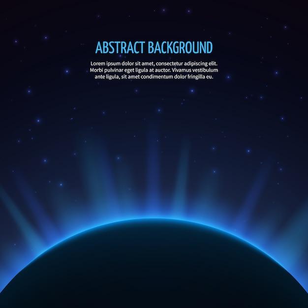 Абстрактный космический фон с планетой и восходящим солнцем. галактика и земля, восход астрономии, векторные иллюстрации Premium векторы