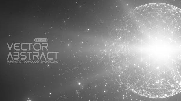 Абстрактный космический монохромный фон. хаотично связанные точки и многоугольники, летающие в космосе. летающий мусор. футуристический технологический стиль. Бесплатные векторы