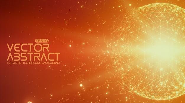 抽象的なスペースオレンジ色の背景。宇宙を飛んでいる無秩序に接続されたポイントとポリゴン 無料ベクター