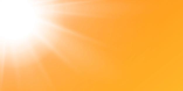 黄色とオレンジ色の背景に輝く太陽と抽象的な輝くレンズフレア。自然なまぶしさで満たされる暖かい太陽。孤立した図。 Premiumベクター