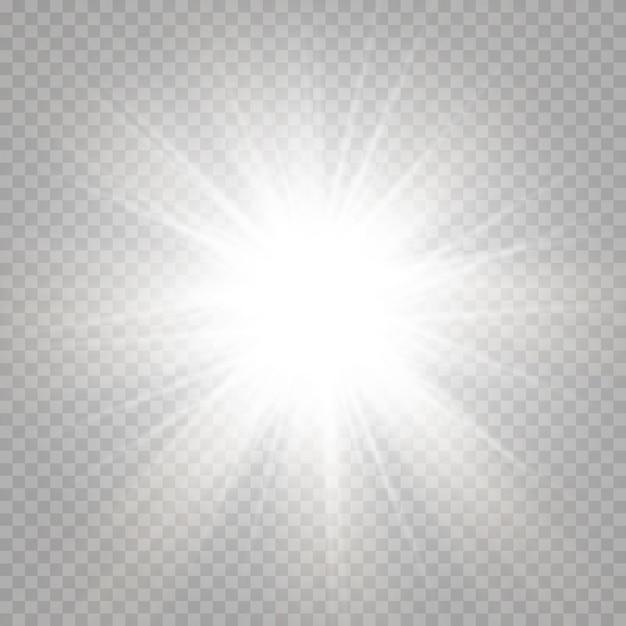 黄色とオレンジ色の背景に輝く太陽と抽象的な輝くレンズフレア。自然なまぶしさで満たされた暖かい太陽。分離された。 Premiumベクター