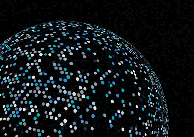 Abstract sphere background with connecting lines and dots Free Vector
