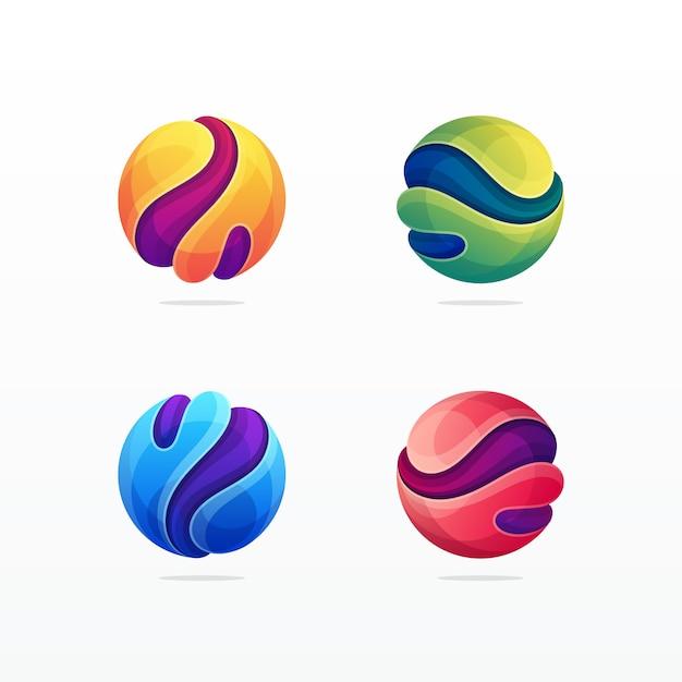 Абстрактная сфера мерная красочная современная икона Premium векторы