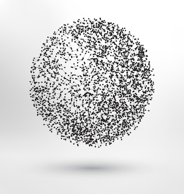 free vector | abstract sphere made of molecules  freepik