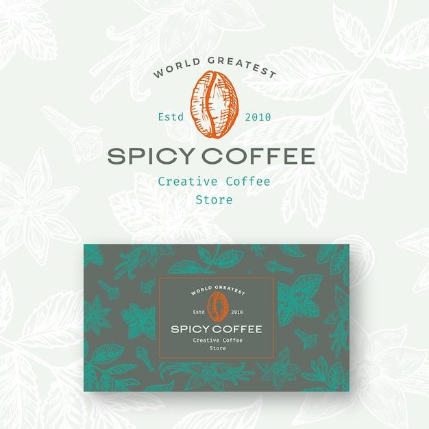 추상 매운 커피 로고와 명함 서식 파일입니다. 무료 벡터