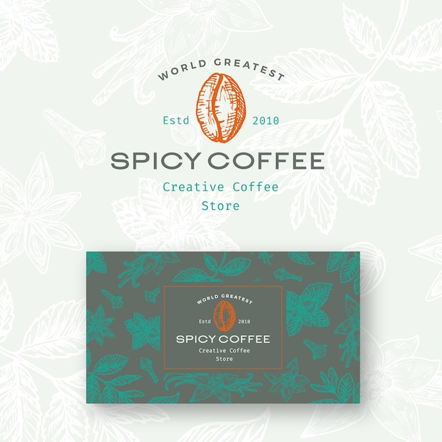 Abstract  spicy coffee logo and business card template. Free Vector