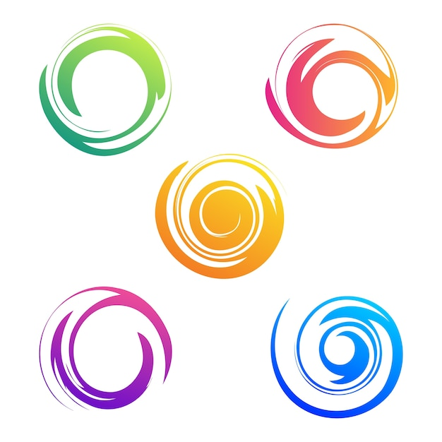 Abstract spiral collection sets Premium Vector
