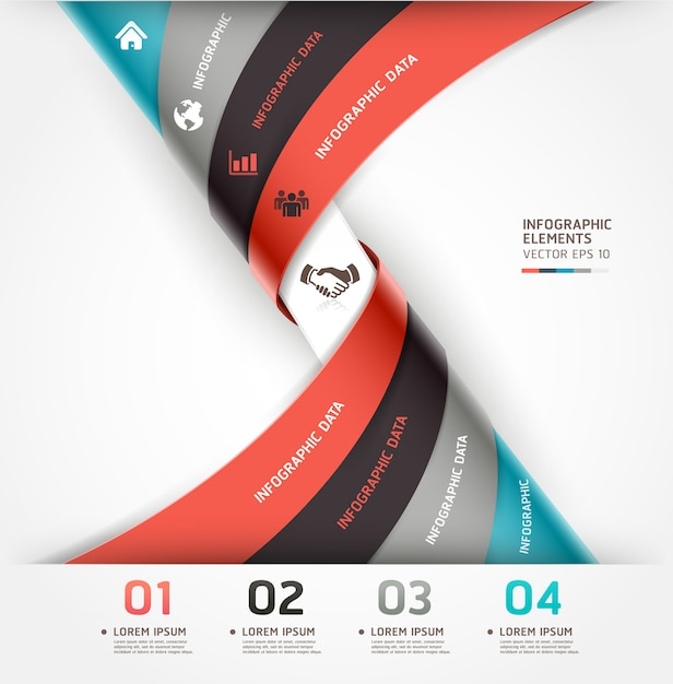 Abstract spiral infographics options can be used for workflow layout, diagram, number options, web design. Premium Vector