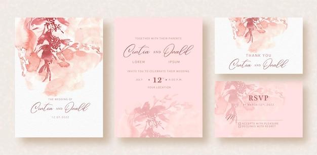 結婚式のカードの抽象的なスプラッシュ花の形の水彩背景 Premiumベクター