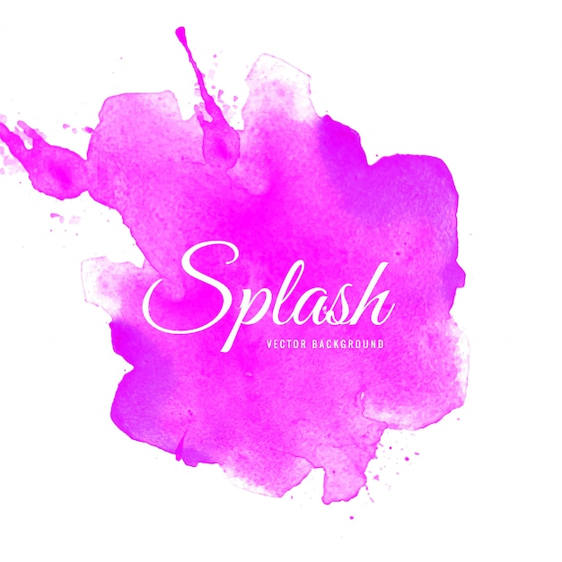 Abstract splash pink watercolor background Free Vector