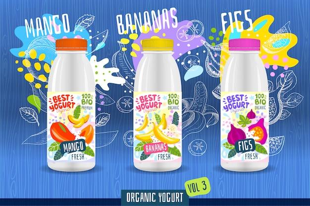 Abstract splash yogurt bottle label template, advertising poster. fruits, organic, yogurt, milk package design. mango, banana, fig. drawing   illustration Premium Vector