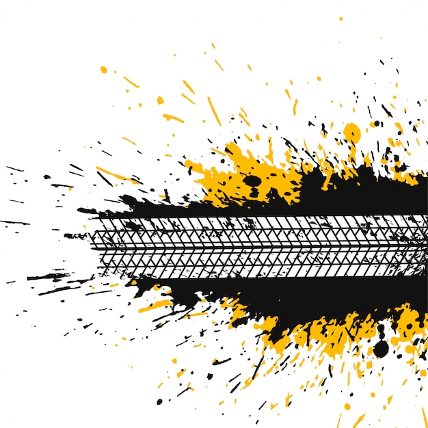 Abstract splatter background with tire track Free Vector