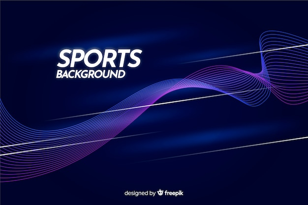 Abstract sport background with blue waves Free Vector