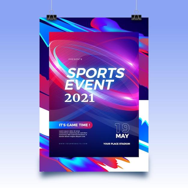 2021 년을위한 추상 스포츠 이벤트 포스터 템플릿 무료 벡터