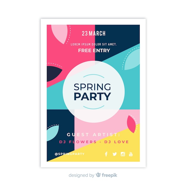 Abstract spring party flyer Free Vector