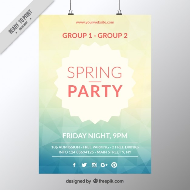 abstract spring party poster template free vector - Free Poster Templates