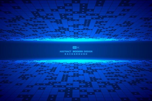 抽象的な正方形の青いデジタルパターンアートワークフレームの背景。 Premiumベクター