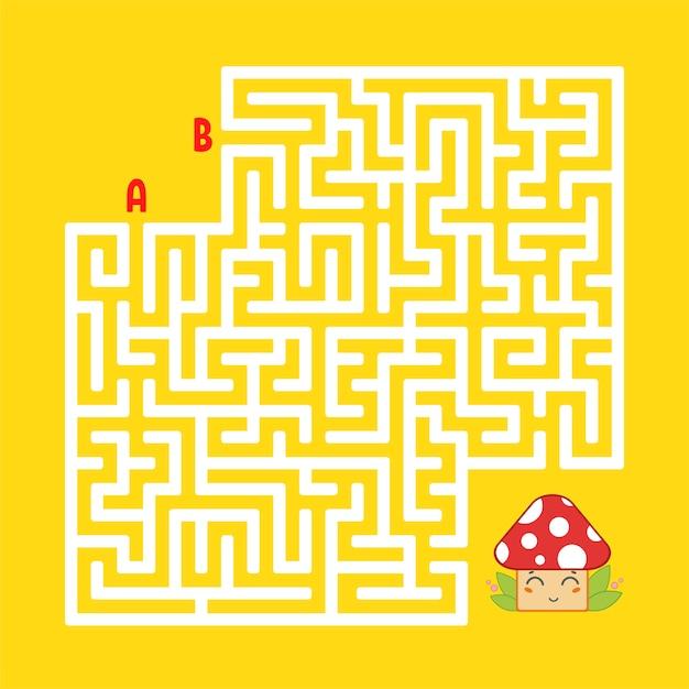 Абстрактный квадратный лабиринт. найдите правильный путь к милому грибу. Premium векторы