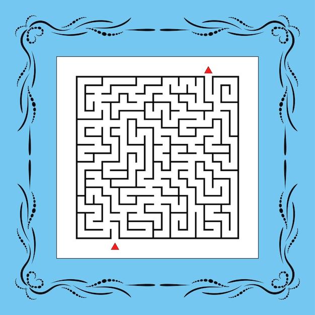 Абстрактный квадратный лабиринт в винтажной рамке. игра для детей. Premium векторы