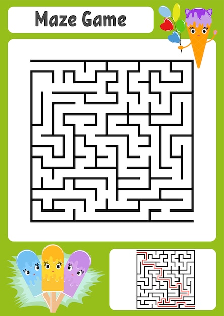 Premium Vector Abstract Square Maze. Kids Worksheets. Game Puzzle For  Children.