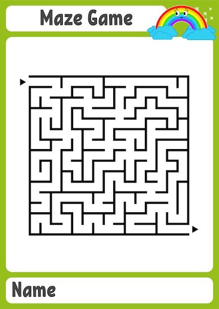 Абстрактный квадратный лабиринт. детские рабочие листы. игра-головоломка для детей. Premium векторы
