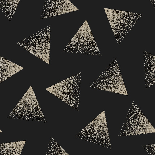 Abstract stippled triangles seamless pattern Premium Vector