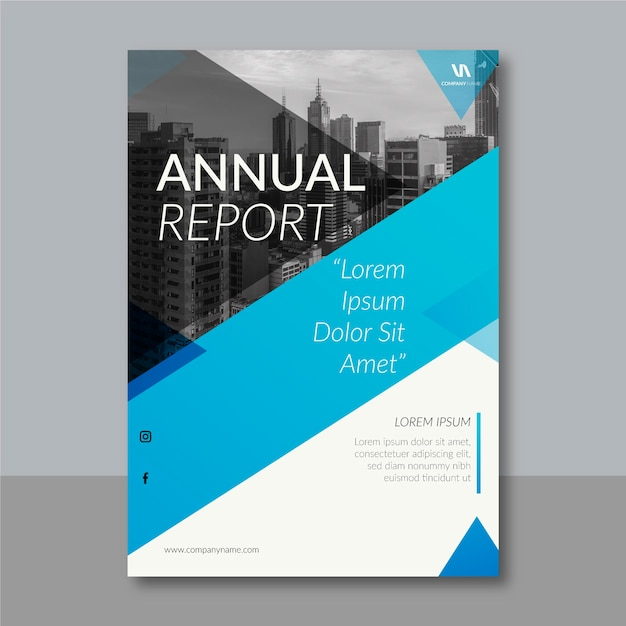 Abstract style annual report template Free Vector