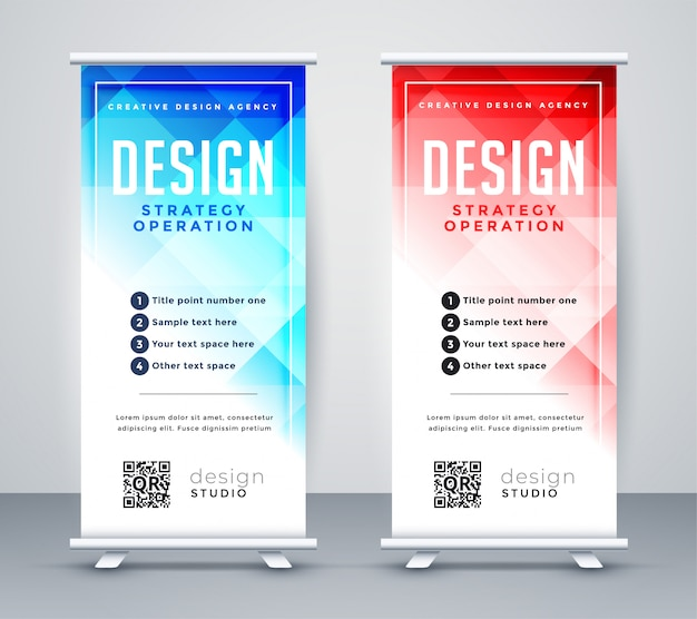 Abstract style business roll up banner template Free Vector