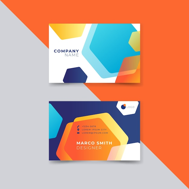 Abstract style colorful business card for company Free Vector