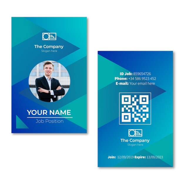 Abstract style id cards template with photo Free Vector