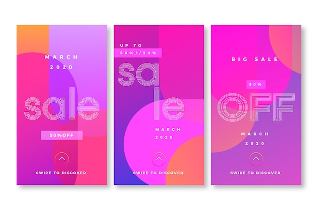 Abstract style instagram sale stories Free Vector