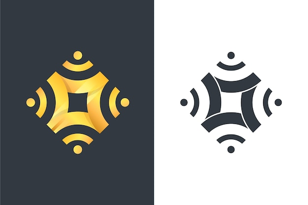 Abstract style logo in two versions Free Vector