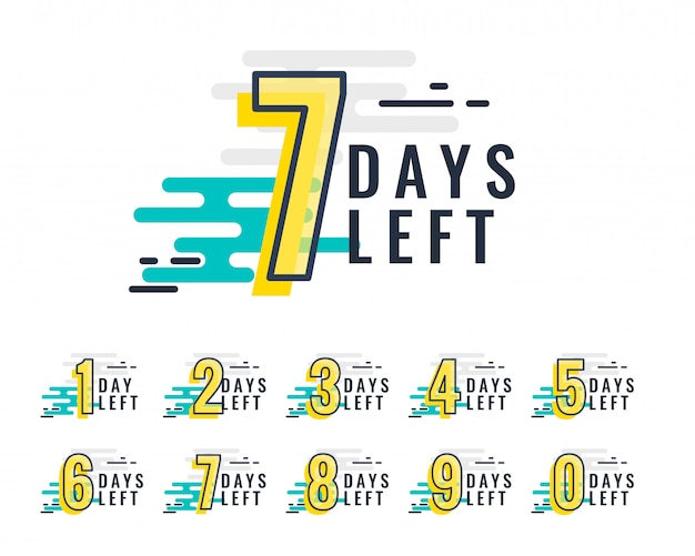 Abstract style number of days left promotional baner Free Vector