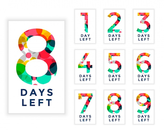 Abstract style number of days left template Free Vector