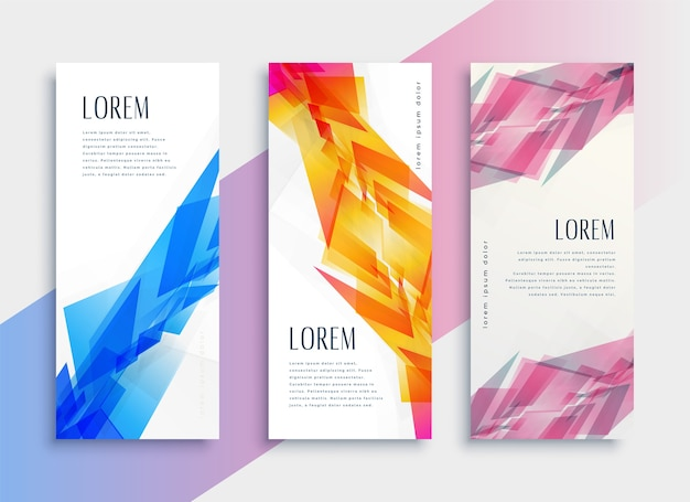 Abstract style web vertical banner design template Free Vector