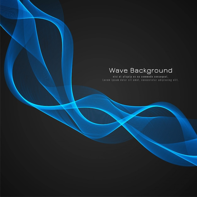 Abstract stylish blue glossy wave dark background Free Vector