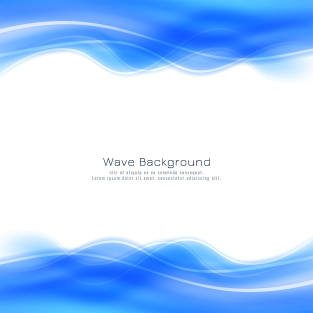 Abstract stylish blue wave background Free Vector