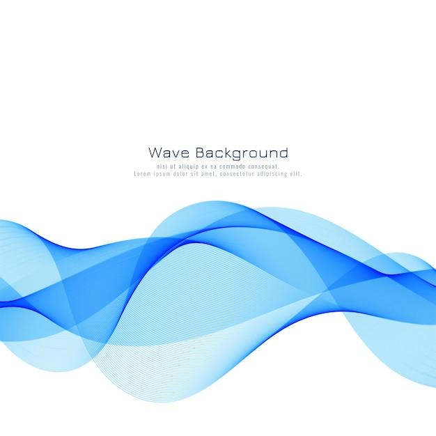 抽象的なスタイリッシュな青い波の背景 無料ベクター