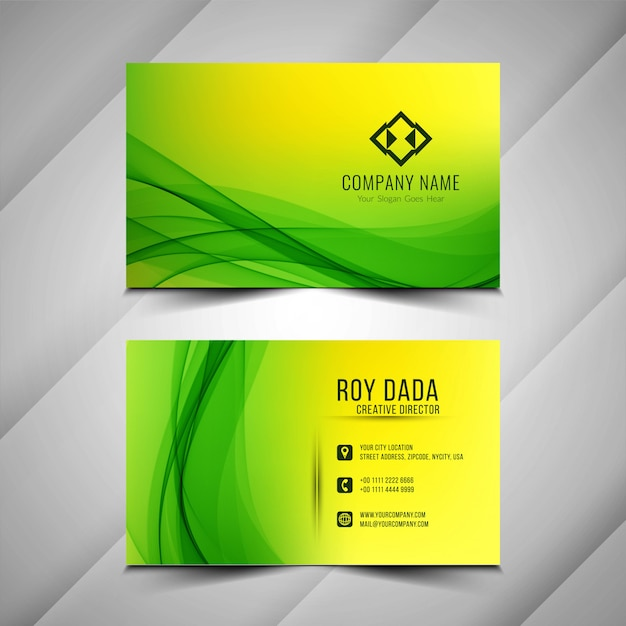 Abstract stylish green business card background Free Vector