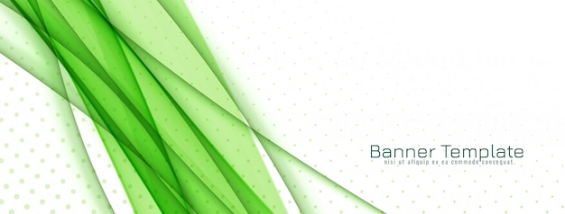 Abstract stylish green wave banner design Free Vector