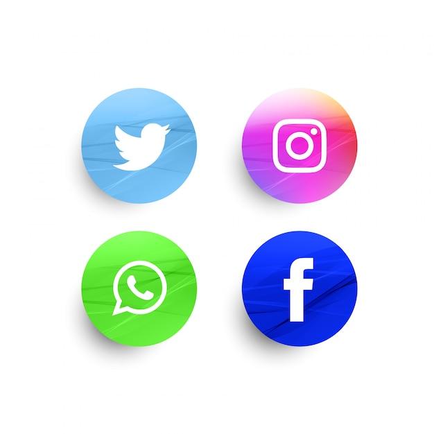 Abstract stylish social media icons set Free Vector