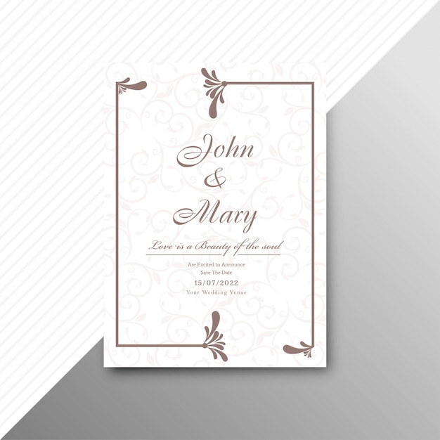 Abstract stylish wedding invitation card floral template ...